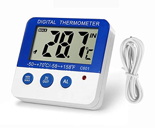 Fridge Freezer Thermometer Max/Min Memory LXSZRPH High & Low Temperature Alarms Settings with LED Indicator Digital Refrigeration Thermometer with Magnetic,Stander