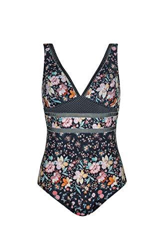 Olympia Damen Badeanzug Flower Glam mit Softschalen, Mehrfarbig (schwarz 5), 38C