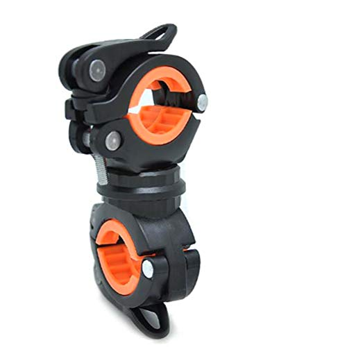 LIOOBO Soporte de luz para Bicicleta Soporte para lámpara de Bicicleta Soporte de Montaje de Linterna para luz de Bicicleta de montaña (Negro y Naranja)