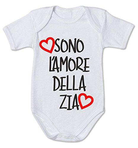 fashwork Body da Neonato Sono L'Amore della Zia - Love - Pagliaccetto in Cotone