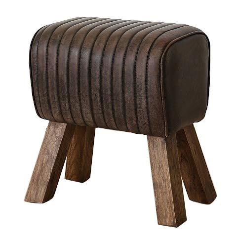 Home Collection Leder Hocker im Turnhallen Bock Design H53cm L46cm Büffelleder
