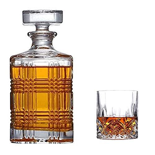 Licorera Casual 5-PC / 7-PC Whiskey Decanter Glass 750ml Crystal Taza Cubierta Tinto Cerveza Vodka Scotch Rum Tequila Home Bar MUMUJIN (Color : 5PC)