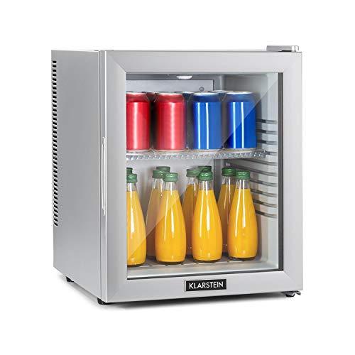 Klarstein Brooklyn - 32 Liter, Minibar Mini-Kühlschrank, thermoelektrisches Kühlsystem, 3-stufige Kühlung: bis 12 °C, EcoExcellence System:, geräuschlos: 0 dB, silber