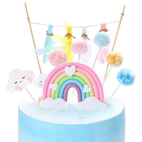 Rainbow Cake Topper, Juego de banderas para pastel de cumpleaños Rainbow Cloud Balloon Cake Decor Cupcake Picks para niñas Niños Cumpleaños Suministros de decoración para fiestas (color claro)