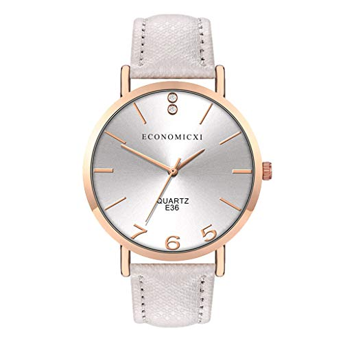 SHE.White Mode Einfach Damenuhren Keine Nummer Rund Dial Damen Uhr Analog Quarz Klassiker Lässige Leder Uhren Armbanduhren