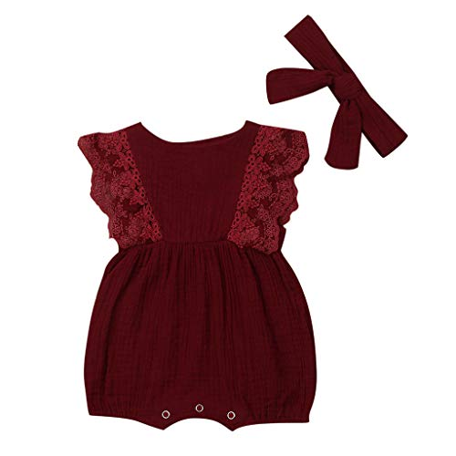 Livoral Mädchen Anzug Baby Kinderkleidung Baby Mädchen Spitze gekräuselten Overall Body Haarband Sommer(Wein,6-12 Monate)