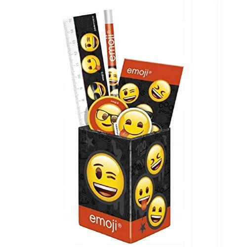 Emoji Emoticons Pennendoosje voor kinderen, metalen bureau-organizer, pennenhouder + toebehoren liniaal, puntenslijper, gum, notitieblok, potlood voor meisjes en jongens