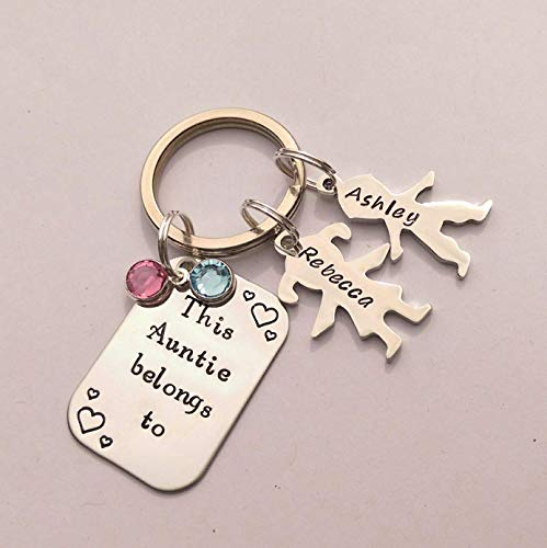 Personalised This Auntie Belongs to Keyring, Gift for Auntie, Sister, Birthday Present
