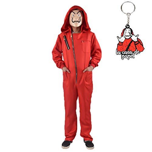 Disfraz de casa de Papel, Mono Rojo con Capucha con Llavero de Dalí, para Cosplay de Carnaval,Talla M