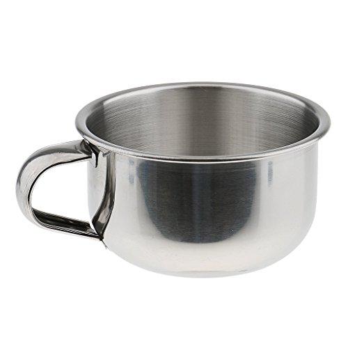Inzopo - Vaso de acero inoxidable para afeitado (acero inoxidable, 8 cm)