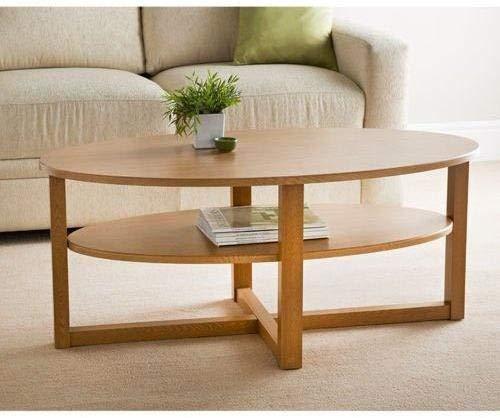 Milton Contemporary Oak Finish Oval Shaped Coffee Table Undershelf