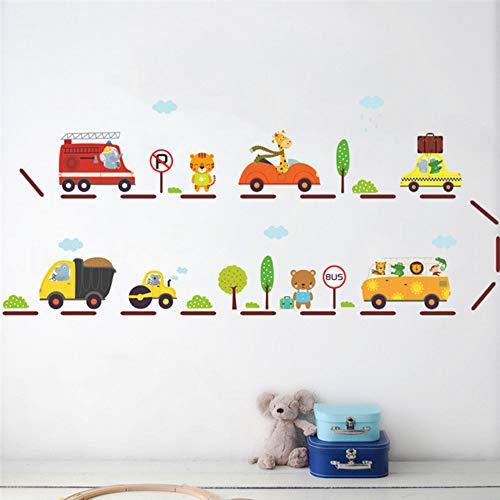 Dieren Stad Bus Stop Auto's Vervoer Muur Stickers voor Kids Slaapkamer Decor Kwekerij Safari Decals Mural Art DIY Home Decor