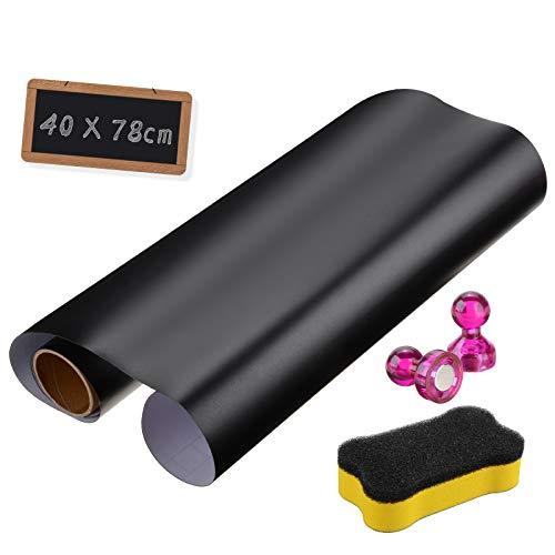 Tafelfolie Magnetische Selbstklebend 78cm x 40cm,UIEEGPG Decal Folie Chalkboard für Zuhause und im Büro zum Schreiben, Zeichnen & Basteln als Klebefolie, Möbel- und Wandfolie, mit Chalkboard Bürste