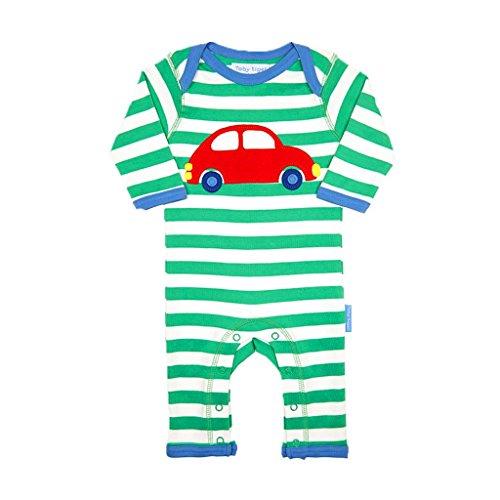 Toby Tiger Car Applique Sleepsuit Pyjama, Vert (Green/Blue/Red/White), 6-12 Mois (Taille Fabricant: 80 cm) Bébé garçon