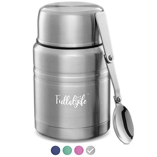 Fullalyfe Thermobehälter für Essen (500 ml) aus Edelstahl – Auslaufsicherer Warmhaltebehälter – Vacuum Warmhaltebox – Thermobecher Babybrei – Thermo Lunchbox – Thermos Essensbehälter (Edelstahl)