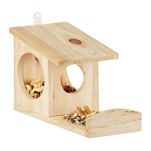 Relaxdays Eichhörnchen Futterhaus zum Hängen, Aus Holz, Wetterfest, HBT: ca. 17,5 x 12 x 25 cm, natur