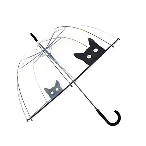 SMATI Stick Clear Bubble Umbrella - Auto Open - for Women and Kids (The Enhanced Edition Cat)