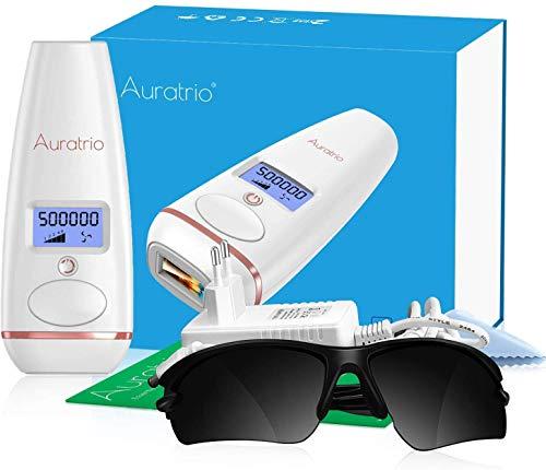 Auratrio T8 IPL Haarentferner 500.000 Lichtimpulse, Haarentfernungsgerät für dauerhaft glatte Haut, 5 Intensitätsstufen, für Körper, Gesicht, Bikini-Zone & Achseln, Gleitmodus, bis zu 4,9J/cm²