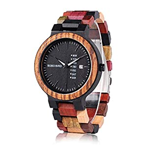 BOBO BIRD Natural Wood Watch Colorful Mens Wooden Watches Week & Date Display Japanese Quartz Movement Chronograph Unique Wristwatch for Men