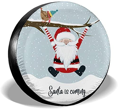 Santa is Coming - Funda para llanta de repuesto,poliéster,universal,de 16 pulgadas,para rueda de repuesto,para remolques,caravanas,SUV,ruedas de camiones,camiones,caravanas,accesorios para remolques