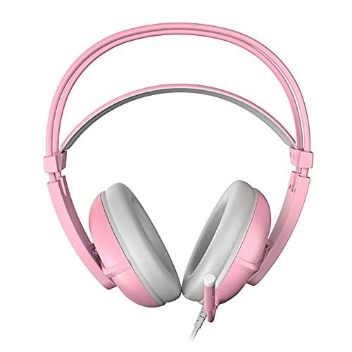 ADGJL Auriculares de cancelación de Ruidos, Auriculares en Oreja, Auriculares estéreo de Alta fidelidad, Modos Plegables y Ligeros, por Cable y inalámbrico incorporados en Pink