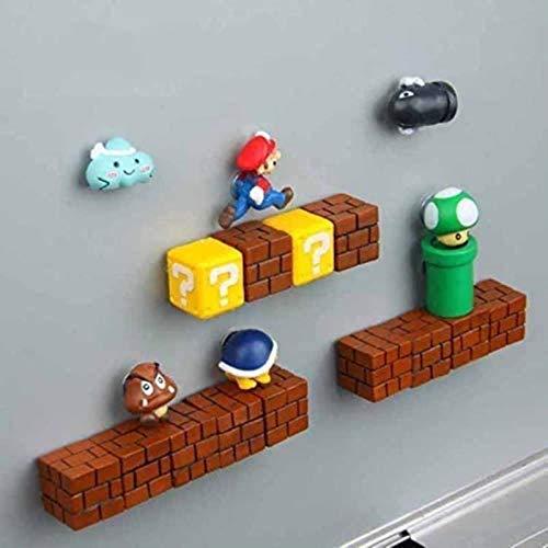 ZNYH 3D Super Mario Bros. Imanes para nevera con mensaje en el refrigerador, divertido para niñas, niños, niños, estudiantes, juguetes, cumpleaños, 14 combinaciones, 20 combinaciones