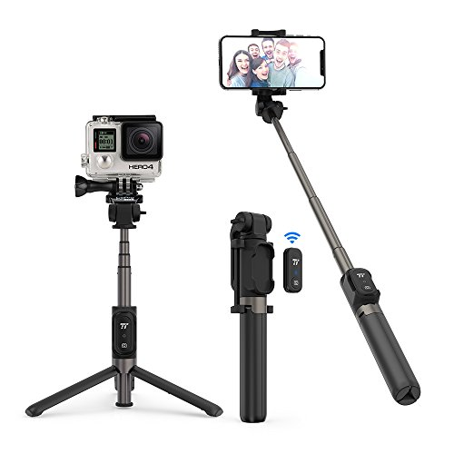 TaoTronics Bluetooth Selfie Stick Stativ mit Fernbedienung Videoanrufe und Live-Streaming 360 Grad Rotation für Gopro Action Kamera iPhone X/iPhone 8/8 Plus/iPhone 7/7 Plus, Galaxy Huawei,More