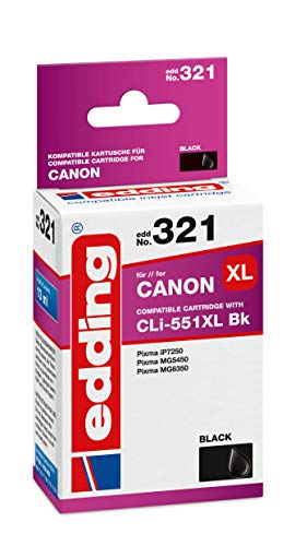 edding Cartucho de Tinta EDD-321 sustituye a Canon CLI-551XL – Negro fotográfico – 13 ml