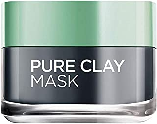 L'Oreal Paris Pure Clay Black Face Mask with Charcoal, Detoxifies & Clarifies, 50 ML