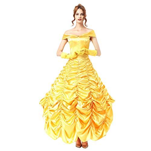 Damen Belle Kleid Die Schöne und das Biest Prinzessin Verkleidung Erwachsene Festlich Off Shoulder Rüschen Partykleid mit Handschuhen und Petticoat Outfit Halloween Karneval Cosplay Costüm Gelb 2XL