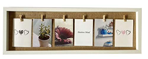 Vogt Fotorahmen Bilderrahmen weiß für 6 Fotos Holz mit Seil und Klammern 72 x 24 cm