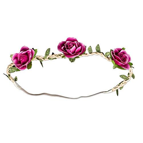 Alpenflüstern Trachten-Haarband Rosen-Blüten pink-Fuchsia ADV103