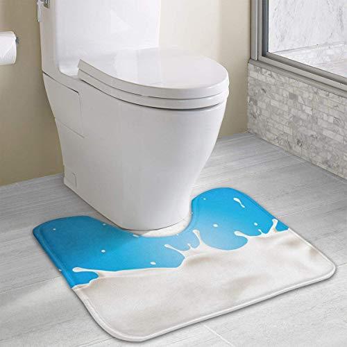 Tappeto per il bagno con contorno di schizzi di latte, tappetino per bagno antiscivolo in poliestere a forma di U per WC