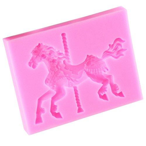 P Prettyia 3D Horse Merry-Go-Round Stampo in Silicone Zucchero Torta Fondente Stampo Strumento Fai da Te