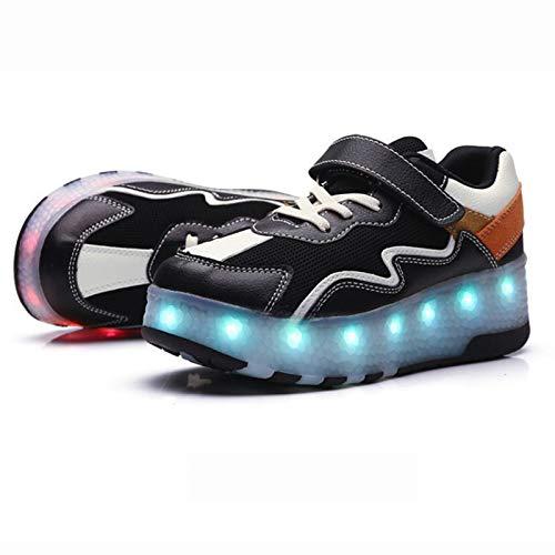 WFSH Unisex Children's Roller Patines LED Luminoso Luminoso Tecnología Telescópica Tecnología Skateboard Zapatos Deportes Multifuncionales Patines al Aire Libre Calzado Deportivo