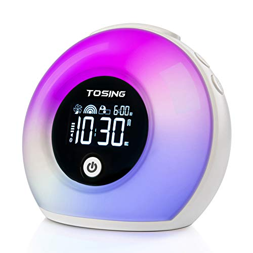 TOSING Despertador luces Lámpara de sueño Reloj Altavoz Bluetooth para niños/adultos Durmiente pesado, Sonidos de la naturaleza Luces LED/Snooze/5 Brillo Lámpara de ayuda para dormir (Blanco)
