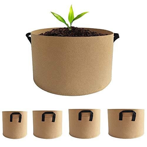 Beansfun 5サイズ1組 プランター 不織布ポット 浅鉢 布鉢 栽培袋 フェルト 野菜栽培 植え袋 ガーデン 通気性 大型 初心者向け 3・5・7・10・15ガロン
