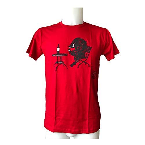 io vivo in italia Wildschwein T-Shirt MIT Wein IM Glas Trinken Rosso M