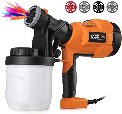 Hvlp Paint Sprayer 800ml/min, Electric Spray Gun with 3 Spray Patterns, 4 Nozzle Sizes, Adjustable Valve Knob, Quick Refill Lid and 900ml Detachable Container