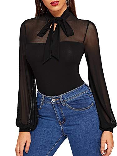 Romwe Women's Tie Neck Sheer Contrast Mesh Long Sleeve Sexy Blouse Top Black L