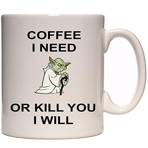 """Star Wars Yoda Keramiktasse mit Aufschrift """"Coffee I Need"""", 313 ml"""