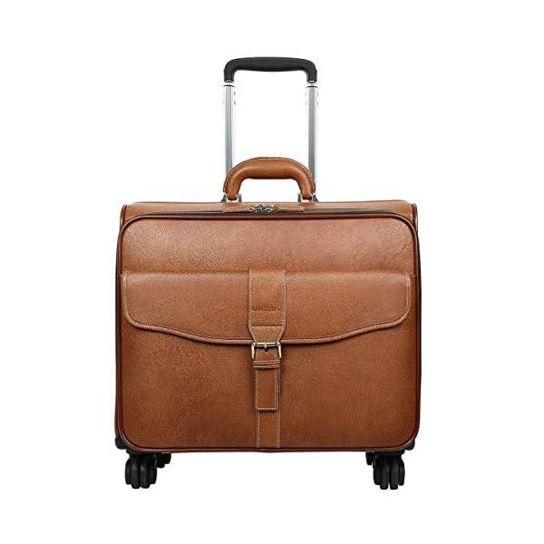 41HDtxVs7YL. SS600  - Leathario Bolsa Maleta de Viaje Cuero Auténtico Giratoria de Cabina Tamaño Grande Equipaje de Mano con Ruedas para…