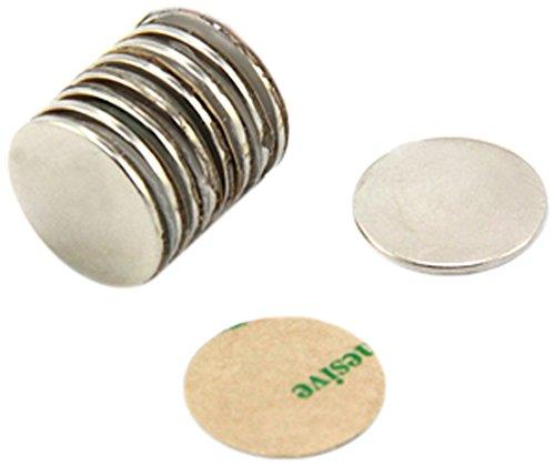 Magnet Expert Adhésif 15mm de diamètre x 1 mm N42 Aimant Néodyme - Pull 1.1 kg (Sud) (paquet de 10)