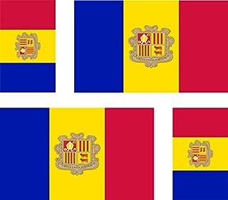 Akacha - Set di 4 Adesivi per Auto, Moto, Valigia, PC, Motivo: Bandiera dell'Andorra