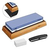 YINKUU Kit di Pietra per Affilare i Coltelli, Set Professionale di Pietra per Affilare i Coltelli con 2 Lati Grana 1000/6000, Base in bambù Antiscivolo