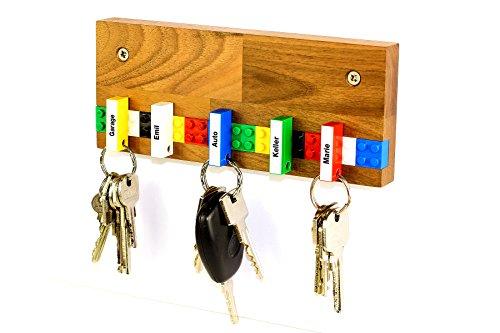 Schlüsselbrett PLAY 201 Holz | Für die ganze Familie | Schlüsselleiste Nussbaum mit 5 Schlüsselanhängern zum selbst beschriften | bunt