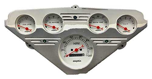 Dolphin Gauges 1955 1956 1957 1958 1959 Chevy Truck 5 Gauge Dash Cluster Panel Set Mechanical White