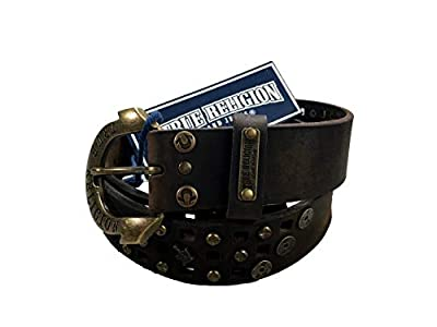 Womens True Religion Jeans Leather Belt Brown Studded Buddha Hardware Logo Horseshoe Buckle (22)