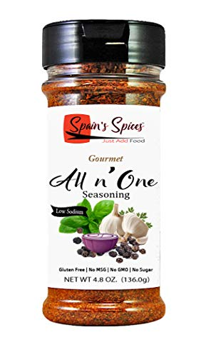 Spain's Spices Gourmet All n' One Seasoning - Low Sodium, Gluten Free, Sugar Free, No MSG, No GMO, No Preservatives, Earthy balance of 10 herbs and spices (4.8 oz)