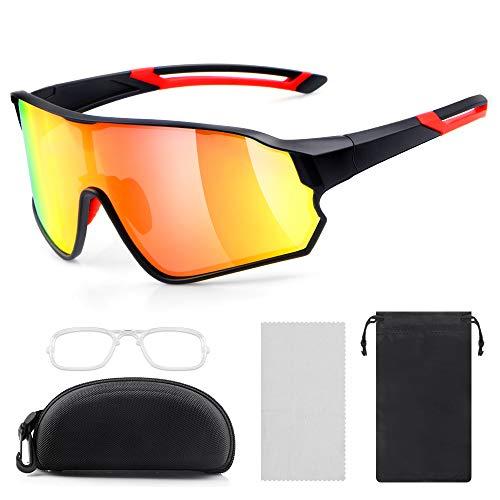laxikoo Sportbrille Polarisierte Sonnenbrille Fahrradbrille für Herren und Damen mit UV400 Schutz Radbrille für Outdooraktivitäten wie Radfahren Laufen Klettern Autofahren Angeln Golf